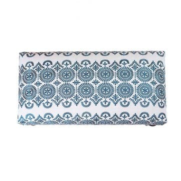 Safi Linen Embroidered Upholstered Bench, 80cm