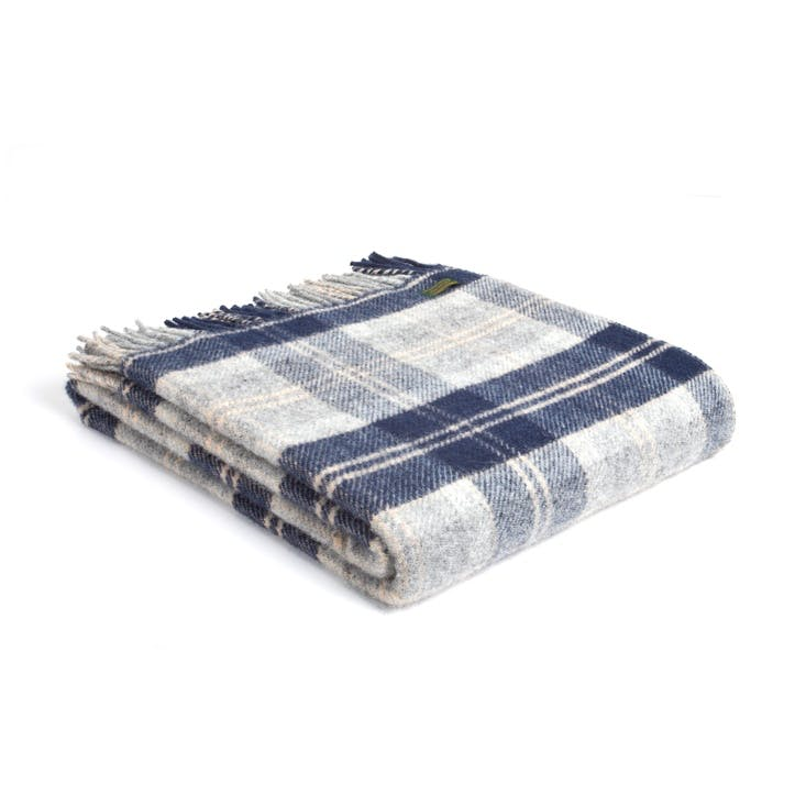 Pure New Wool Throw, Navy Bannockbane