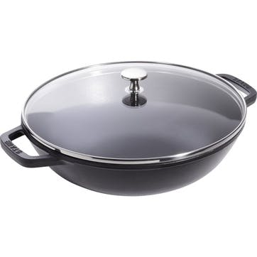 Cast Iron Wok With Clear Lid, Black