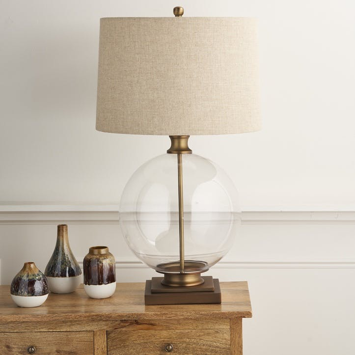 Glass and Brass Round Table Lamp