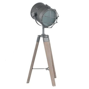 Marine Metal & Antique Wood Tripod Lamp