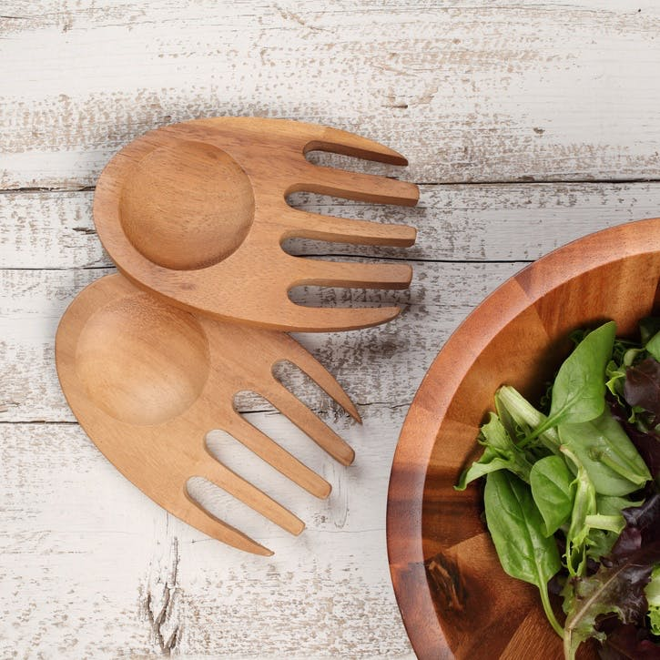 Tuscany Acacia Wood Salad Hands