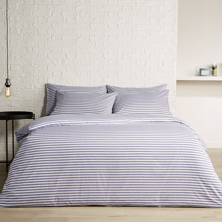 Pyjama Stripe Super King Duvet Set, Indigo