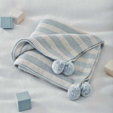 0 Striped Cotton Cashmere Blanket , W100 x L75cm, Blue