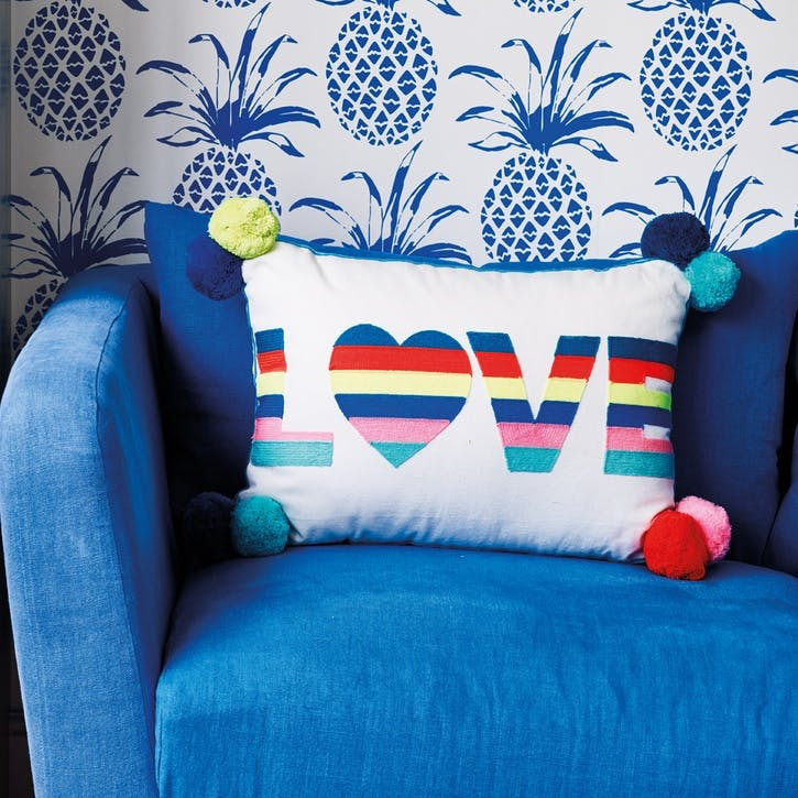 Love Stripes Embroidered Cushion