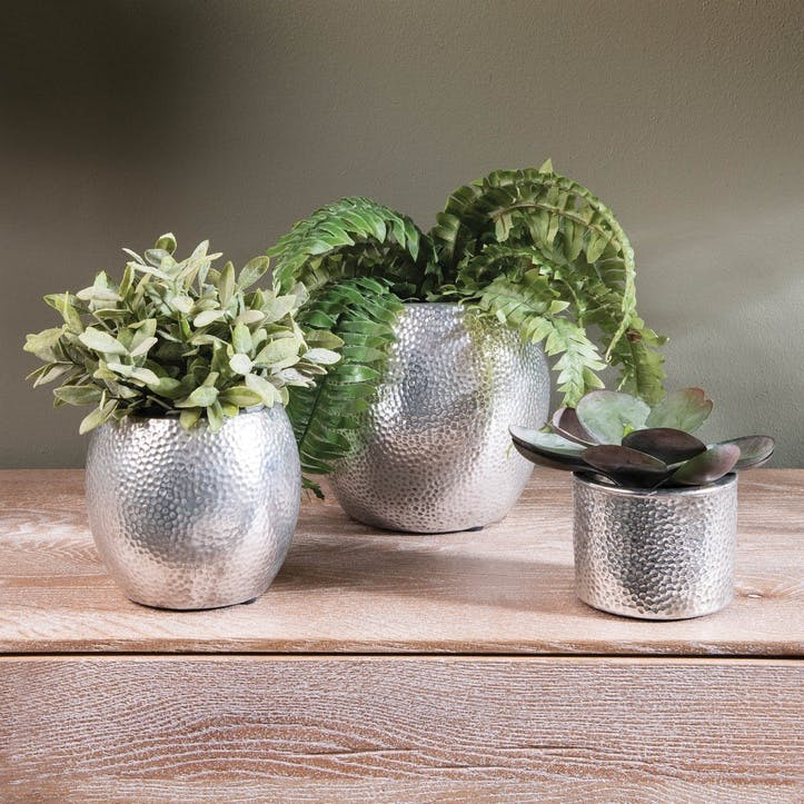 Hammered Rounded Silver Planter, Large
