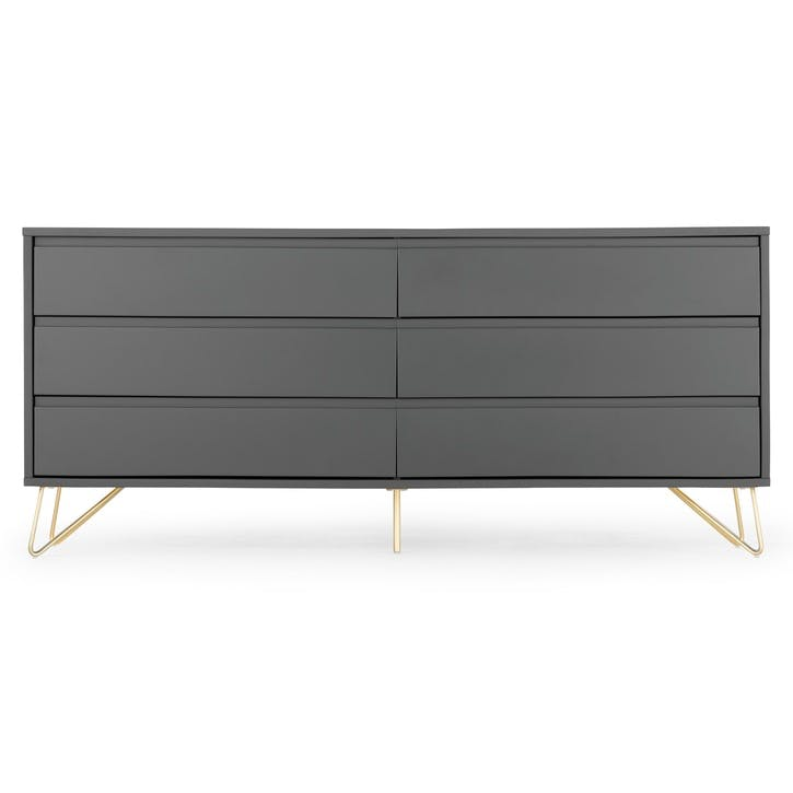 Elona Wide Chest of Drawers; Charcoal/ Brass