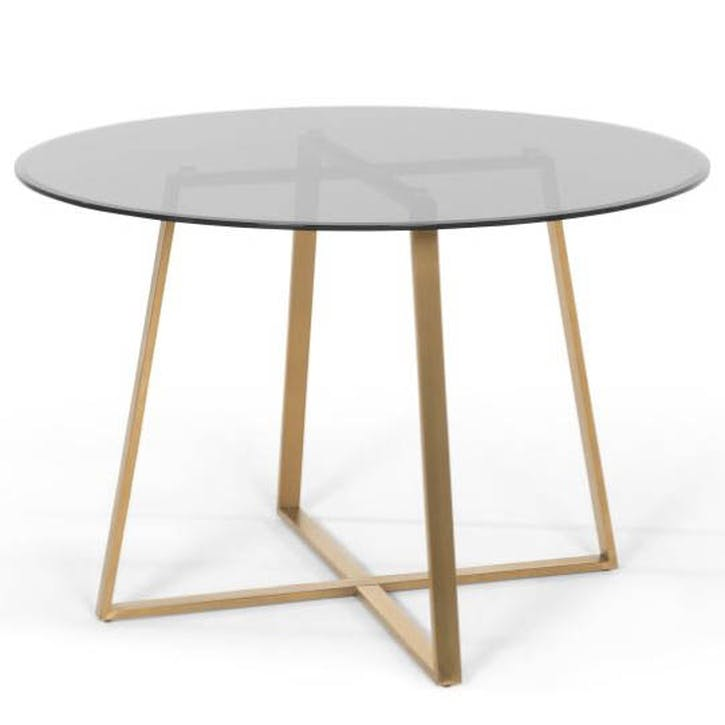 Haku Dining Table, Brass and Smoke Glass