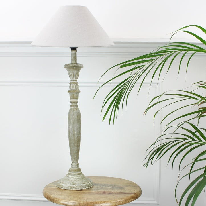 Grey Wash Wooden Lamp with Shade