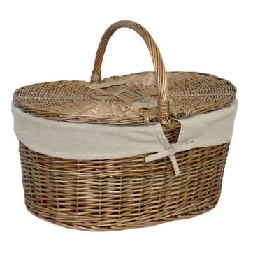 Willow Deep Antique Wash Oval Picnic Basket With Cream Lining