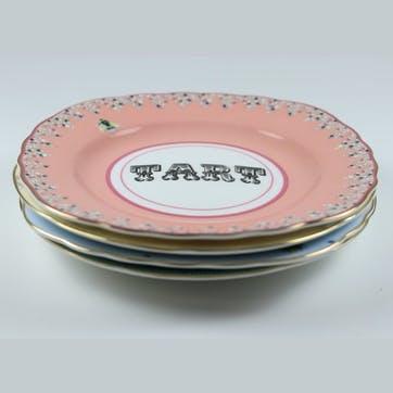 Pastel Cake Plates, Mixed Set of 4