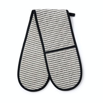 Harbour Stripe Double Oven Glove, Black