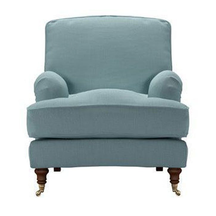 Bluebell Armchair, Lagoon Brushed Linen Cotton