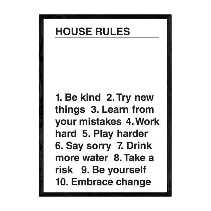 The Native State, House Rules, Framed Art Print, H63 x W44 x D2cm, Black