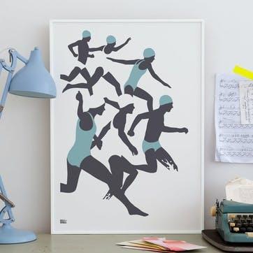 The Swimmers Screen Print - 50 x 70cm; Coastal Blue