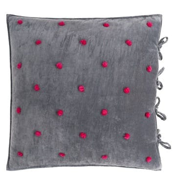 Sevanti Graphite Cushion with Pom Poms