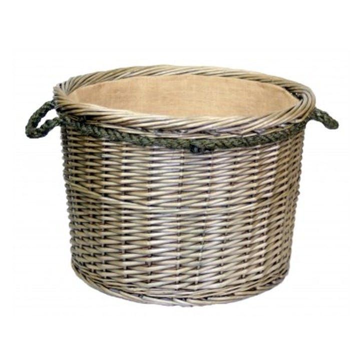 Antique Wash Round Rope Handled Log Basket, Large