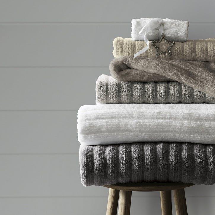 Hydrocotton Ribbed Towel, Hand Towel, Slate
