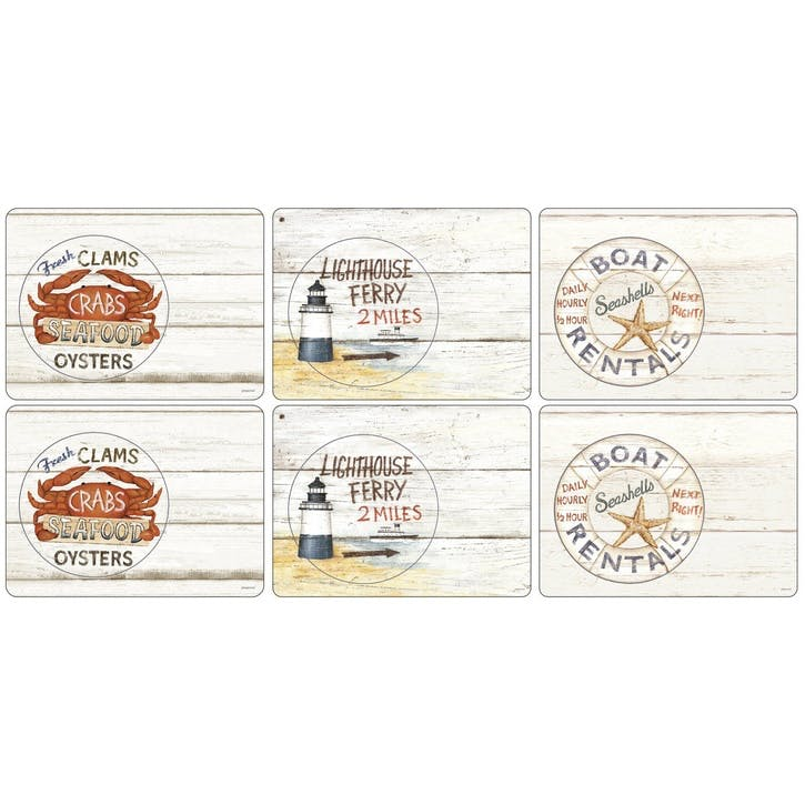 Coastal Signs Placemats, Set of 6