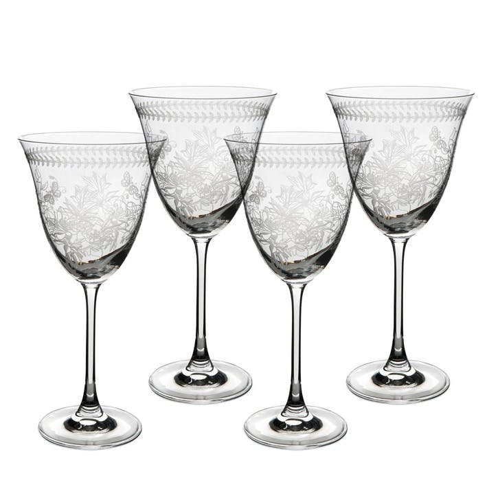 Botanic Garden Crystal Wine Glasses, Set of 4