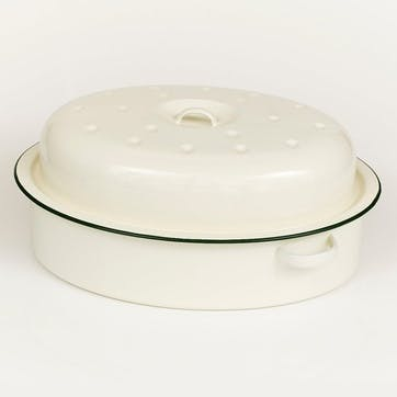 Large Oval Roaster with Green Rim