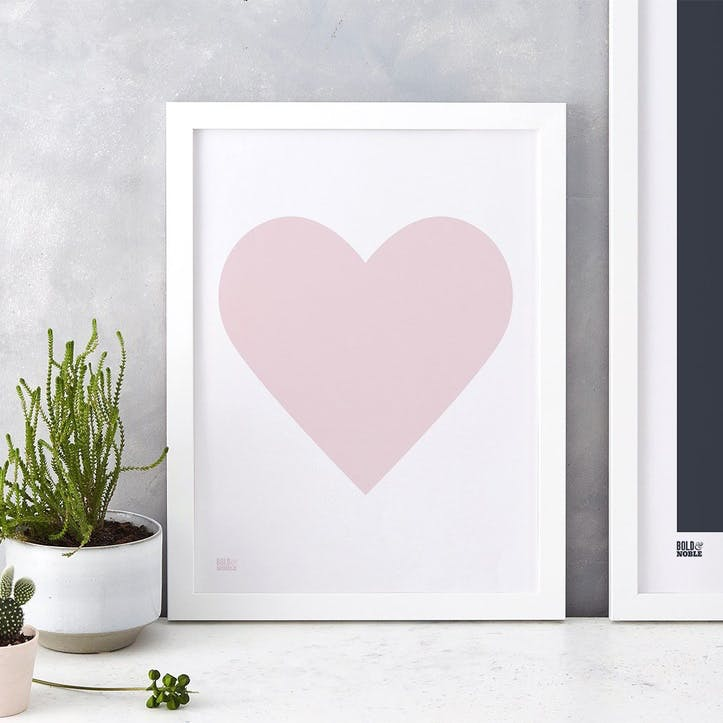 Love Heart Print; Pink Blush on White