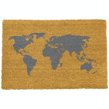 World Map Doormat, Grey