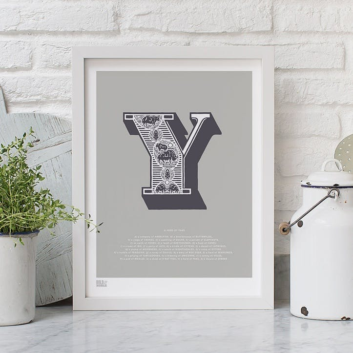 Illustrated Letter Y Screen Print, 30cm x 40cm, Putty