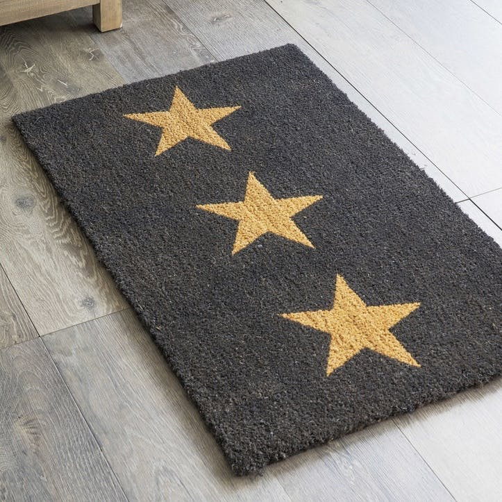 Doormat 3 Stars, Large in Charcoal, Coir