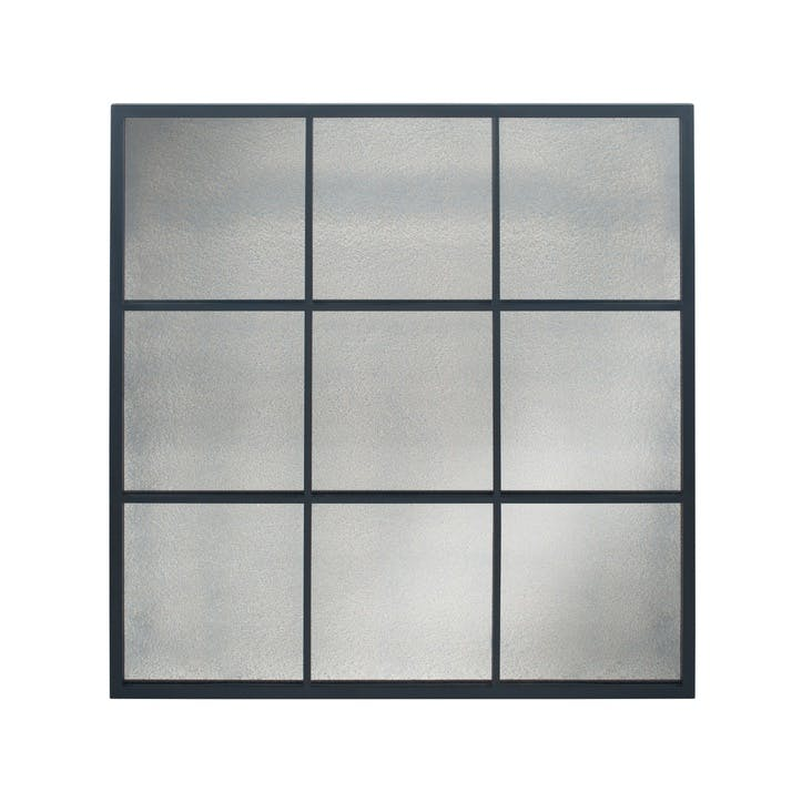 Panelled Foxed Glass Mirror, Large, Black