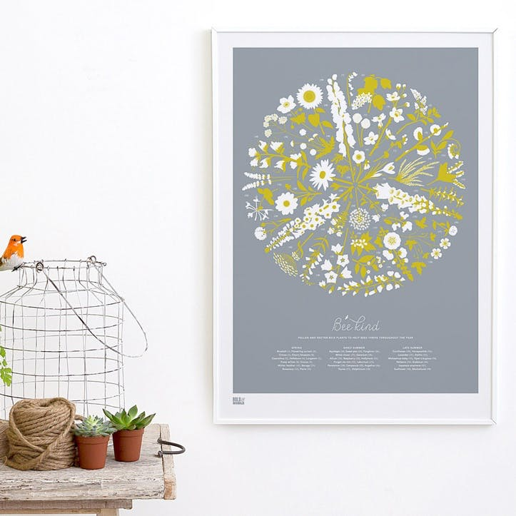 Bee Kind Screen Print, 50cm x 70cm, Warm Grey/ Yellow Moss
