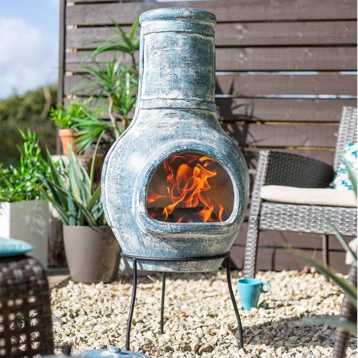 Blue Banded Large Clay Chimenea