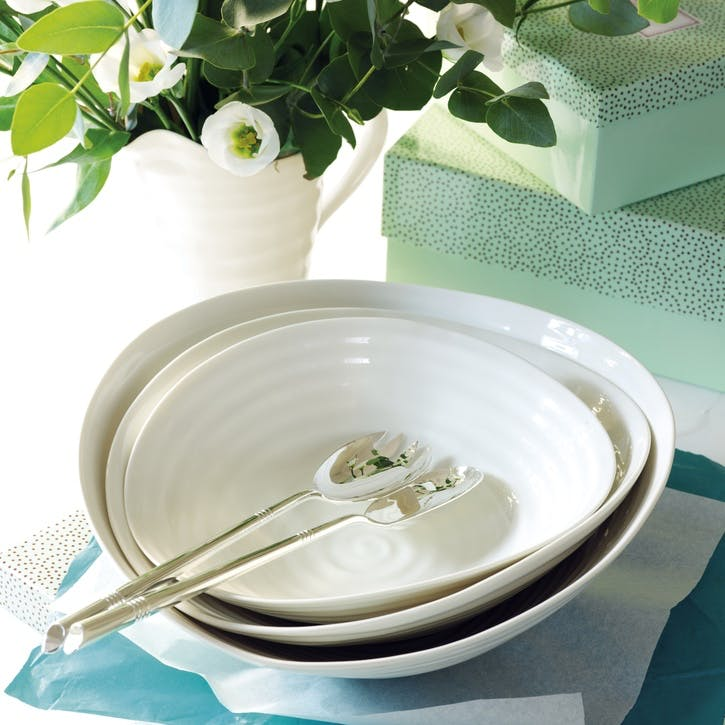 Salad Bowls, Set of 3; White