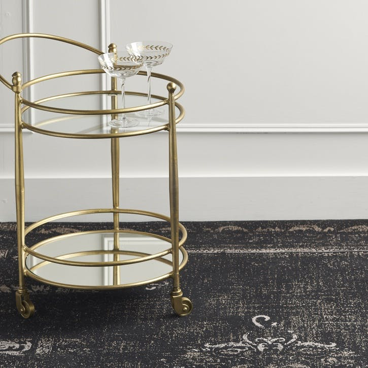 Jewel Glass and Brass Drinks Trolley