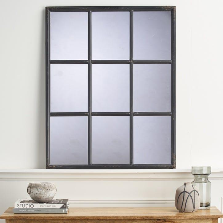 Industrial Window Mirror, Black