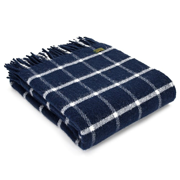 Chequered Throw; Navy