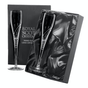 Saturn Crystal Champagne Flutes, Set of 2
