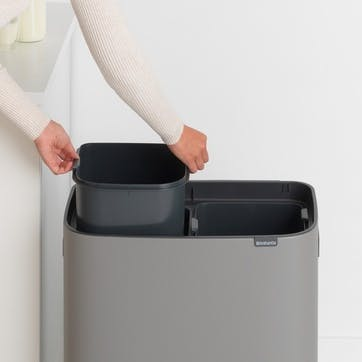 Bo Large Recycling Bin with 2 Inner Buckets, Mineral Concrete Grey