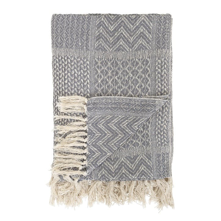 Patterned Tassel Edge Cotton Throw; Grey