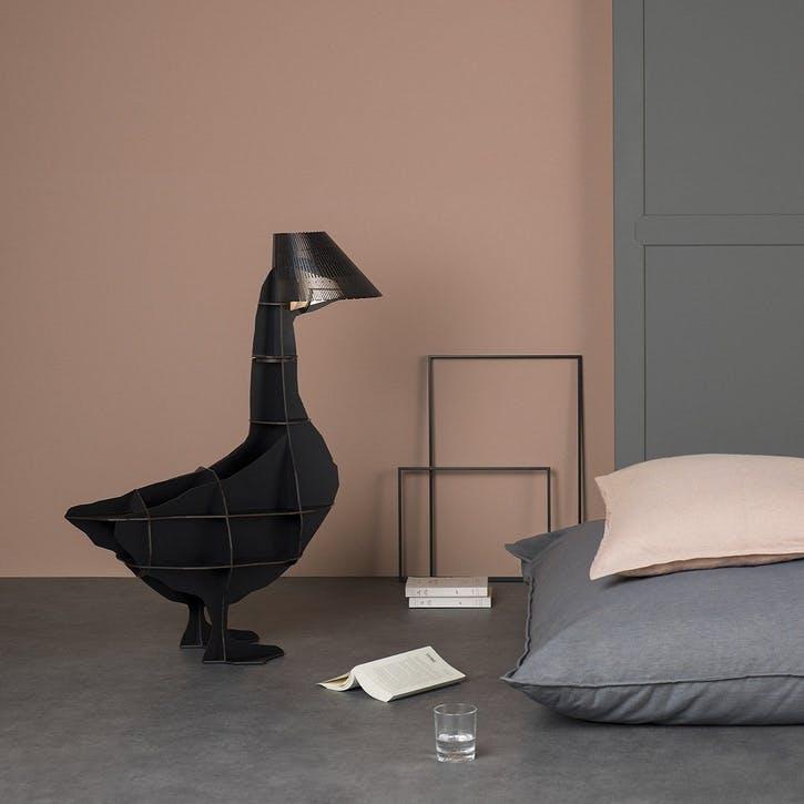 Junon Illuminated Goose Bedside Table, Black