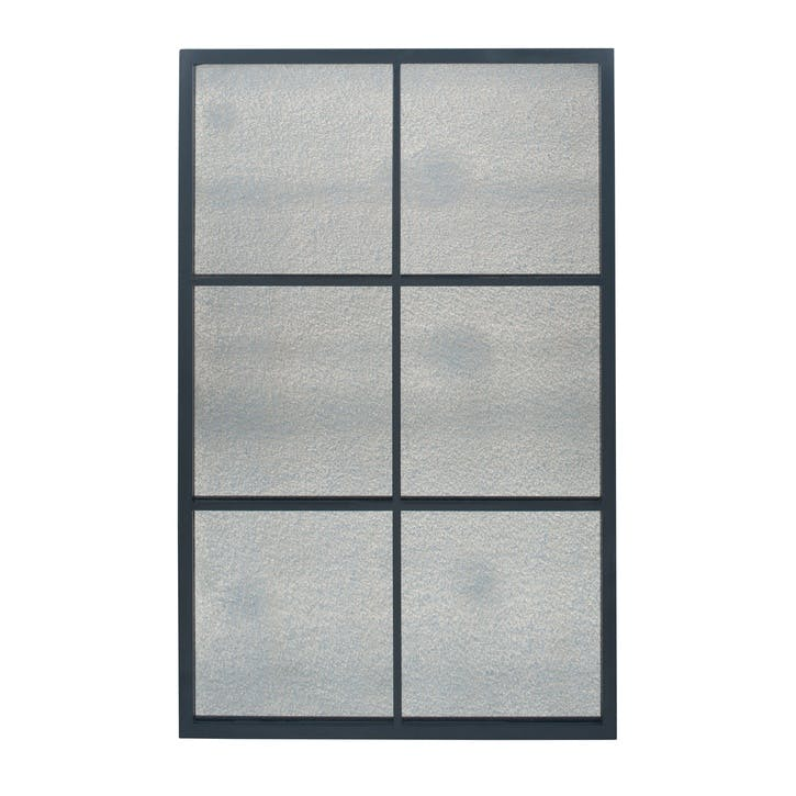 Panelled Foxed Glass Mirror, Small, Black