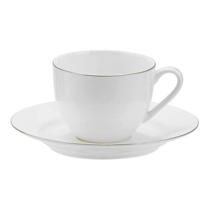Serendipity Teacup and Saucer, Set of 4 - 0.22L; Platinum
