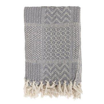 Patterned Tassel Edge Cotton Throw; Grey