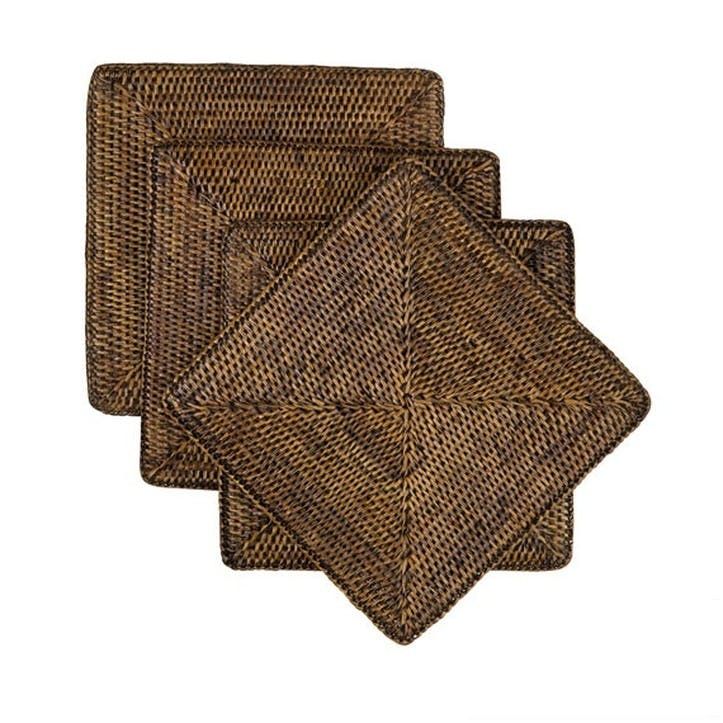 Rattan Square Placemats, Set of 4