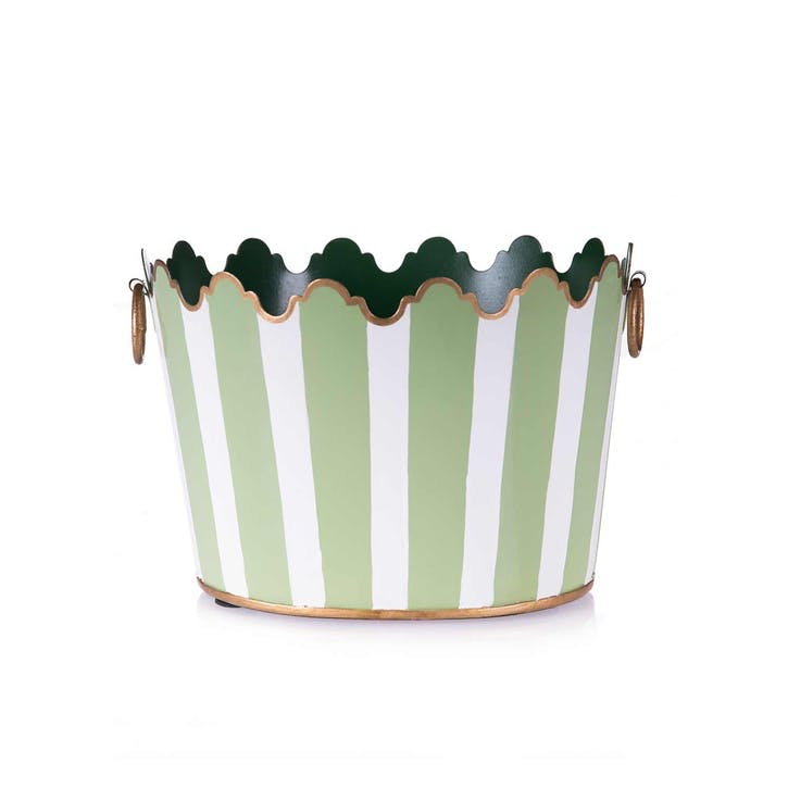 Green Cirque Striped Planters, Set of 2