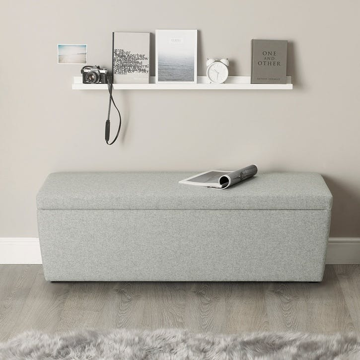 Langley Wool Ottoman, Light Grey