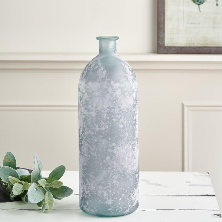 Recycled Glass Bottle Vase - Small; Mottled Grey