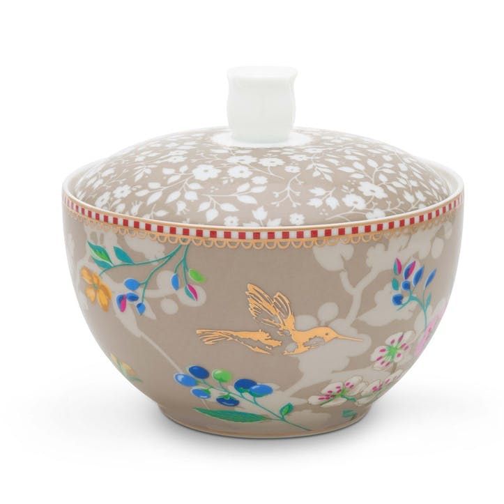 PiP Floral 2.0 Hummingbirds Sugar Bowl, Khaki