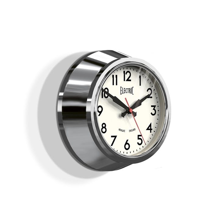 The Small Electric Wall Clock, Dia. 21.5cm, Chrome