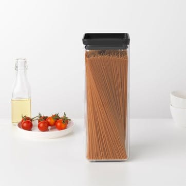 Tasty+ Stackable Square Canister, 2.5L, Dark Grey Lid